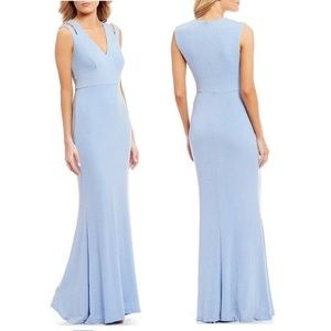 Calvin Klein Light Blue Metallic Cutout Gown